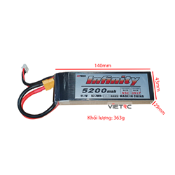 Picture of Pin Ahtech Infinity 3S 11.1V 5200mAh 45C XT60 Plug